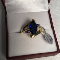 New, size 8.5 or 12, Blue Topaz Ring, 18K yellow Gold Filled Chesapeake, 23320