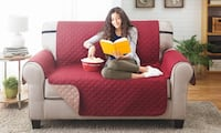 Water-resistant Quilted Reversible Love Seat Cover (Burgundy/Natural) Toronto