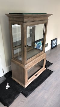 brown wooden cabinet with mirror East Patchogue, 11772
