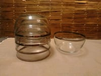 Mid century silver rimmed bowls x5 Pineville