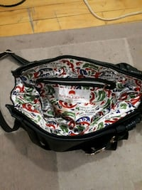 black, green, and red floral leather handbag Montreal, H4J