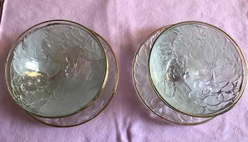 Brand New Gold Rimmed Glass/Plate Set!