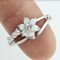 Exquisite Round Cut,  White Fire Opal & White Topaz  .925 Sterling Silver Flower Band. Tap my picture to see more ! Hudson, 03051