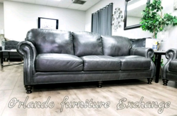 Phenomenal 100 Genuine Leather Grey Sofa And Loveseat Gently Unemploymentrelief Wooden Chair Designs For Living Room Unemploymentrelieforg