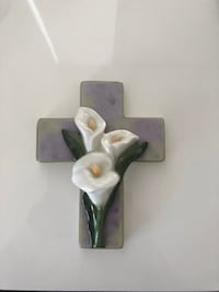 LILY EASTER PORCELAIN CROSS