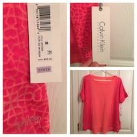 red Calvin Klein scoop-neck shirt