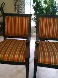 two red-and-brown stripe padded armchairs Smyrna, 37167