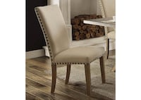 Set of 4 weathered Oak and Linen dining chairs Naramata