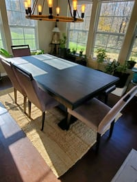 Dining set - heavy wood farm table, 4 chairs and 1 bench