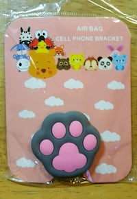 Gray and Pink Cat Phone Grip