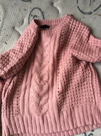 pink knitted button-up jacket