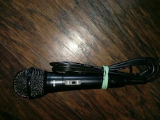 black corded microphone