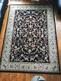 black and brown floral area rug DAYTON