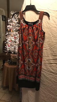 women's red, black, and brown thick strap dress