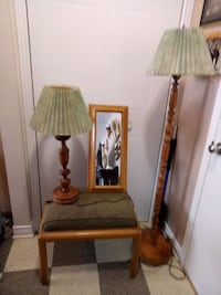 brown wooden base with white lampshade floor lamp Montreal, H2P 1X2