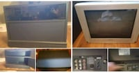 gray CRT TV with brown wooden TV hutch Abbotsford, V3G 2L1