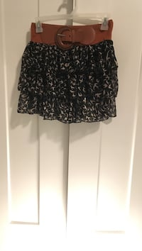 Black and gray birds print tiered mini skirt West Haven, 84401