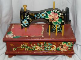 Vintage hand painted sewing box .