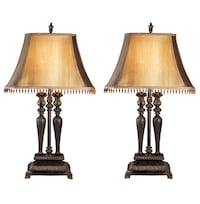 Two brown wooden table lamps San Jose, 95136