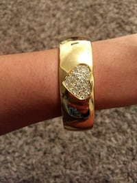 gold-colored with diamond cuff bracelet
