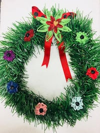 green Christmas wreath with floral accent Edmonton, T5H 2W9