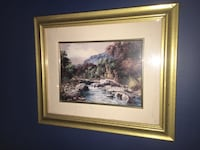 painting of river with brass steel frame London, N6B 2Y1