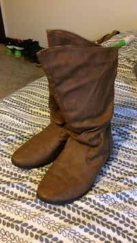 Pair of brown leather mid-calf slouchy flat boots