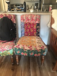 two red and green floral padded chairs Boring, 97009