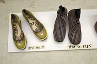 Lemon green leather wedge shoes by Fly London size 8. In excellent condition. Price $40 (Firm and NON -NEGOTIABLE). Multicolored elastic shoes with 1.5 inches heel, Almost brand new. Size 8 /8.5, Price $40 (Price firm Montreal, QC, Canada