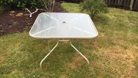 white metal framed glass-top patio table Portland, 97218