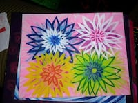 yellow, blue, and pink flower painting 61 km