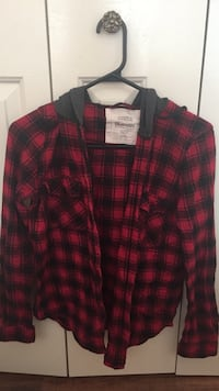 Red and black plaid button-up shirt with hood Coquitlam