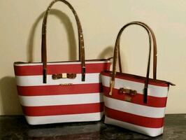 white and red striped leather tote bag