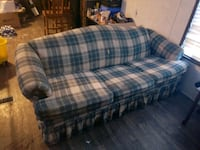 blue and white plaid fabric sofa Franklin, 46131
