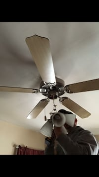 brown wooden 5-blade light ceiling fan 549 mi