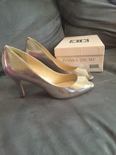 ivanka trump silver peep toe heeled shoes