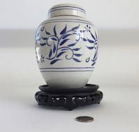 Radford England hand painted blue and white ginger jar with stand Riverside, 92503