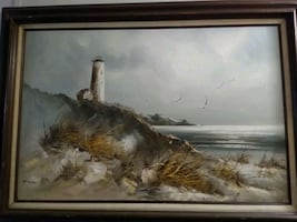 Large beautiful beach light house painting oil on canvas