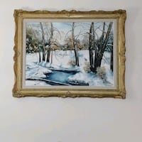 Large vintage Original Winterscape Painting Toronto, M2J 2C2