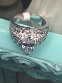 18k White Gold Filled Engagement Solitaire Ring Size 10