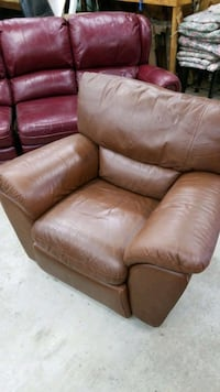 Recliner - brown leather, oversized