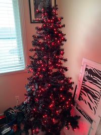 Black Christmas Tree With Red Lights