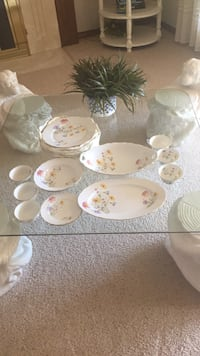 white and pink floral ceramic dinnerware set Centennial, 80122