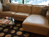 brown leather sectional sofa with ottoman Hanover, 21076