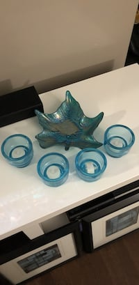 blue glass leaf and candle holder Edmonton, T6X 1N9
