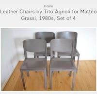 Black Leather Chairs by Tito Agnoli
