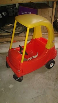 yellow and red Little Tikes Cozy Coupe