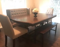 rectangular brown wooden table with six chairs dining set Plano, 75023
