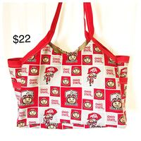 white and red floral print tote bag