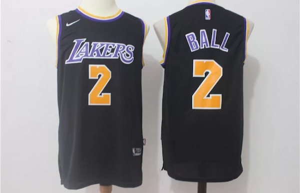 63823327f62 New Lonzo Ball Black LA Lakers NIKE Unreleased Jersey Mens S M L and XL